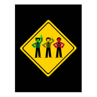 Moody Stoplight Trio Ahead Postcard