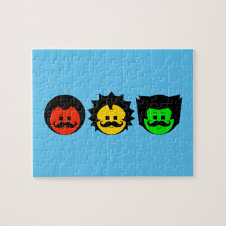 Moody Stoplight Trio Faces with Mustachios 1 Jigsaw Puzzle