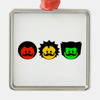 Moody Stoplight Trio Faces with Mustachios 1 Metal Ornament