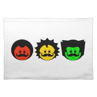 Moody Stoplight Trio Faces with Mustachios 1 Placemat