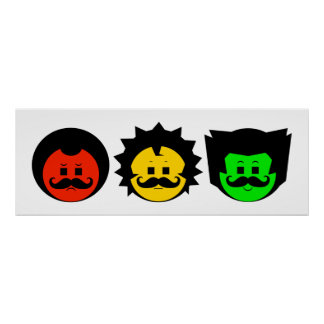 Moody Stoplight Trio Faces with Mustachios 1 Poster