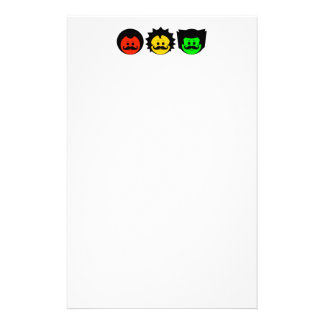 Moody Stoplight Trio Faces with Mustachios 1 Stationery