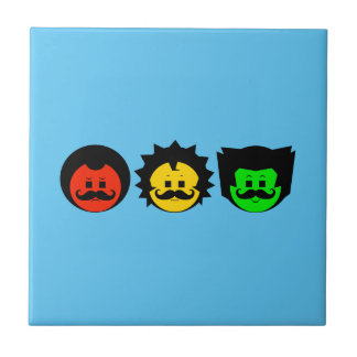 Moody Stoplight Trio Faces with Mustachios 1 Tile
