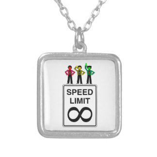 Moody Stoplight Trio Infinite Speed Limit Silver Plated Necklace