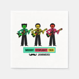 Moody Stoplight Trio Mustachio Guitar Players 1 Paper Napkins