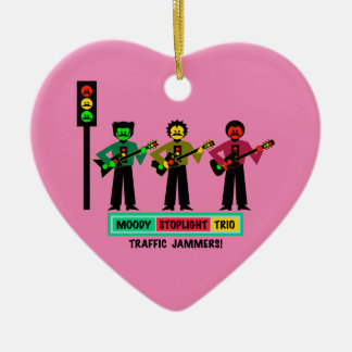 Moody Stoplight Trio Mustachio Guitar Players 2 Ceramic Ornament