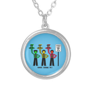 Moody Stoplight Trio Next To Speed Lim Pi Sign w/C Silver Plated Necklace