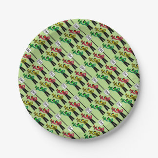 Moody Stoplight Trio Next to Speed Limit Pi Sign 7 Inch Paper Plate