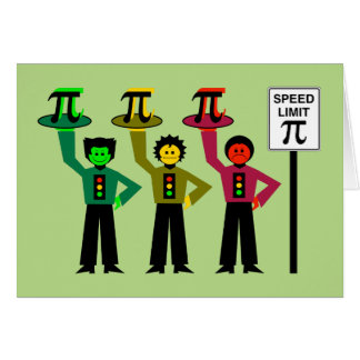 Moody Stoplight Trio Next to Speed Limit Pi Sign Card