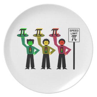 Moody Stoplight Trio Next to Speed Limit Pi Sign Dinner Plates