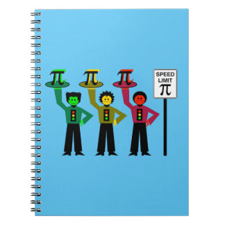 Moody Stoplight Trio Next to Speed Limit Pi Sign Notebooks