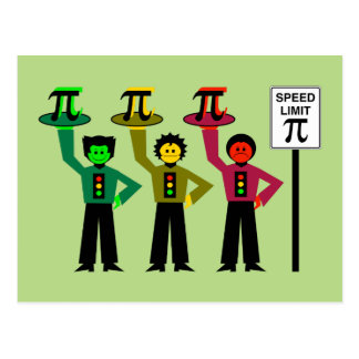 Moody Stoplight Trio Next to Speed Limit Pi Sign Postcard
