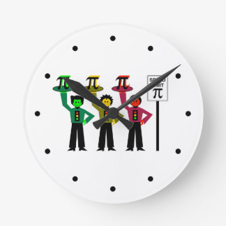 Moody Stoplight Trio Next to Speed Limit Pi Sign Round Clock