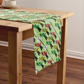 Moody Stoplight Trio Next to Speed Limit Pi Sign Short Table Runner