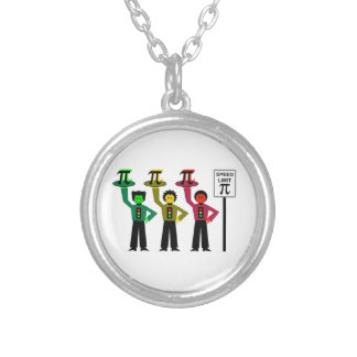 Moody Stoplight Trio Next to Speed Limit Pi Sign Silver Plated Necklace