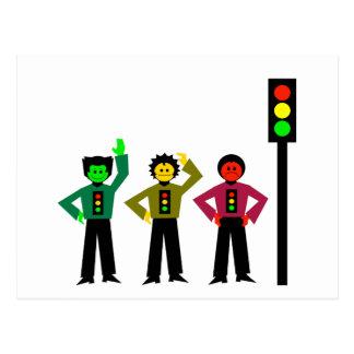Moody Stoplight Trio Next to Stoplight Postcard