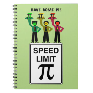 Moody Stoplight Trio On Speed Lim Pi Sign wCaption Notebook