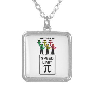 Moody Stoplight Trio On Speed Lim Pi Sign wCaption Silver Plated Necklace