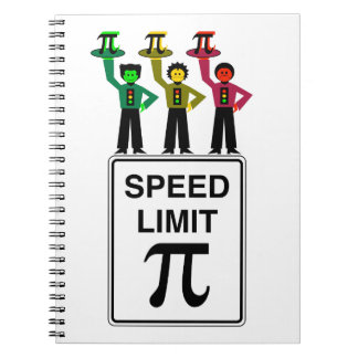 Moody Stoplight Trio On Speed Limit Pi Sign Notebook