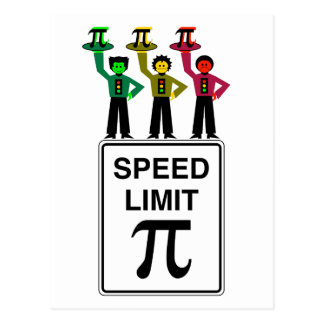 Moody Stoplight Trio On Speed Limit Pi Sign Postcard