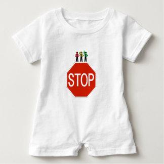 Moody Stoplight Trio On Stop Sign Baby Romper
