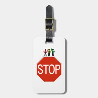 Moody Stoplight Trio On Stop Sign Luggage Tag