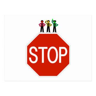 Moody Stoplight Trio On Stop Sign Postcard