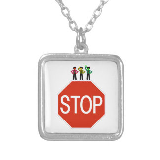 Moody Stoplight Trio On Stop Sign Silver Plated Necklace