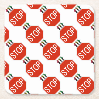 Moody Stoplight Trio On Stop Sign Square Paper Coaster