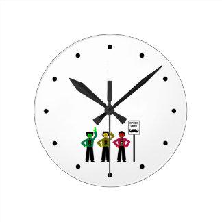 Moody Stoplight Trio Speed Limit Mustachio Round Clock