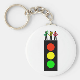 Moody Stoplight Trio Stoplight Basic Round Button Keychain