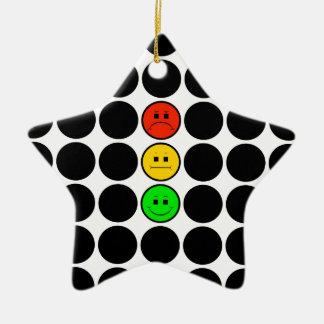 Moody Stoplight w Black Dots Ceramic Ornament