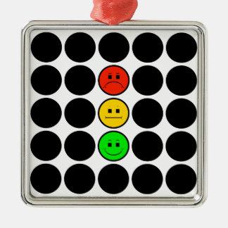Moody Stoplight w Black Dots Metal Ornament