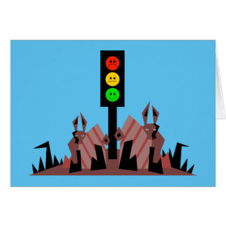 Moody Stoplight with Bunnies Card
