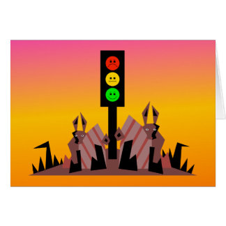 Moody Stoplight with Bunnies, Dreamy Background Card