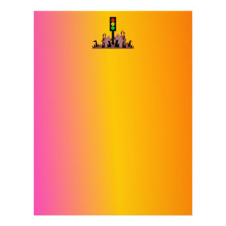 Moody Stoplight with Bunnies, Dreamy Background Letterhead