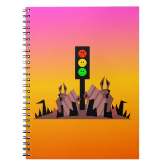Moody Stoplight with Bunnies, Dreamy Background Notebook