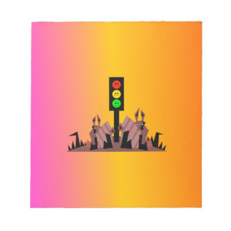 Moody Stoplight with Bunnies, Dreamy Background Notepad