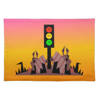Moody Stoplight with Bunnies, Dreamy Background Placemat