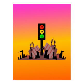 Moody Stoplight with Bunnies, Dreamy Background Postcard