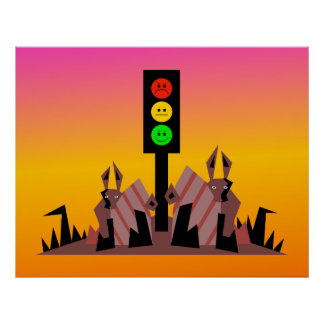 Moody Stoplight with Bunnies, Dreamy Background Poster