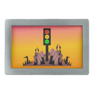 Moody Stoplight with Bunnies, Dreamy Background Rectangular Belt Buckle