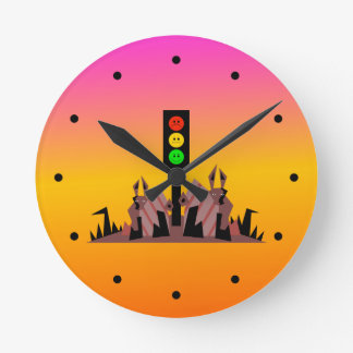 Moody Stoplight with Bunnies, Dreamy Background Round Clock