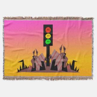 Moody Stoplight with Bunnies, Dreamy Background Throw Blanket