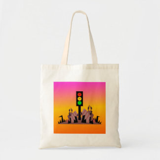 Moody Stoplight with Bunnies, Dreamy Background Tote Bag