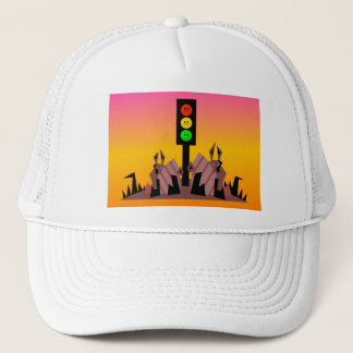 Moody Stoplight with Bunnies, Dreamy Background Trucker Hat