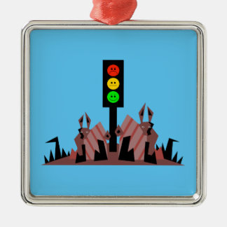Moody Stoplight with Bunnies Metal Ornament