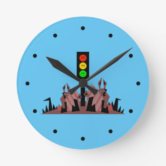 Moody Stoplight with Bunnies Round Clock
