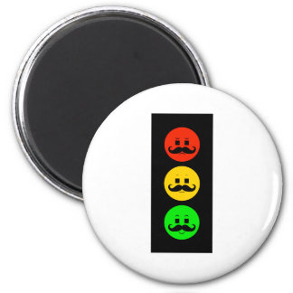 Moody Stoplight with Handlebar Mustaches Magnet