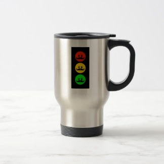 Moody Stoplight with Handlebar Mustaches Travel Mug